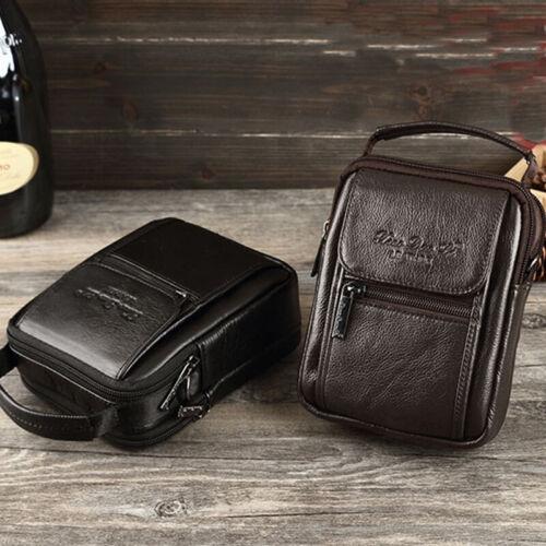 Men Genuine Leather Small Handbag Hip Fanny Waist Pack Messenger Shoulder Bag