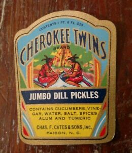 WAMANCE Sour Pickles LABEL File Copy 1930s Faison North Carolina Chief 1 Pint