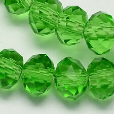 100 pcs  RONDELLE FACETED GLASS CRYSTAL BEADS 6mm GREEN jewellery