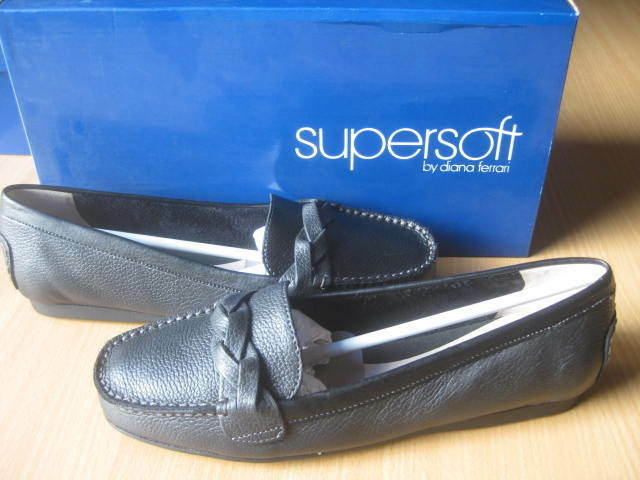 womens DIANA FERRARI supersoft  black leather shoes SZ 7 C NEW! $119.95!