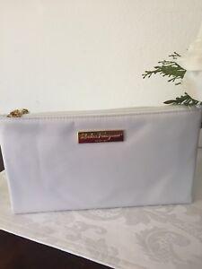 Image is loading Salvatore-Ferragamo-Parfums-White-Large-Travel-Cosmetic- Makeup- 1de5d51950d07