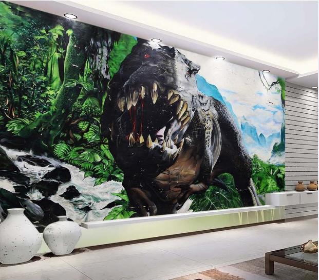 3D Dinosaur Tooth Grün Tree Paper Wall Print Wall Decal Wall Deco Indoor Murals