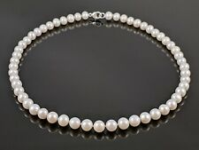 Premium 8mm Genuine Freshwater Round White Pearl Single Strand Necklace