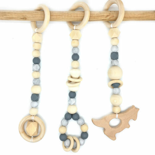 Baby Kangroo Geometric Wooden Beads Silicone Teether Teething Toy Play Gym Toys