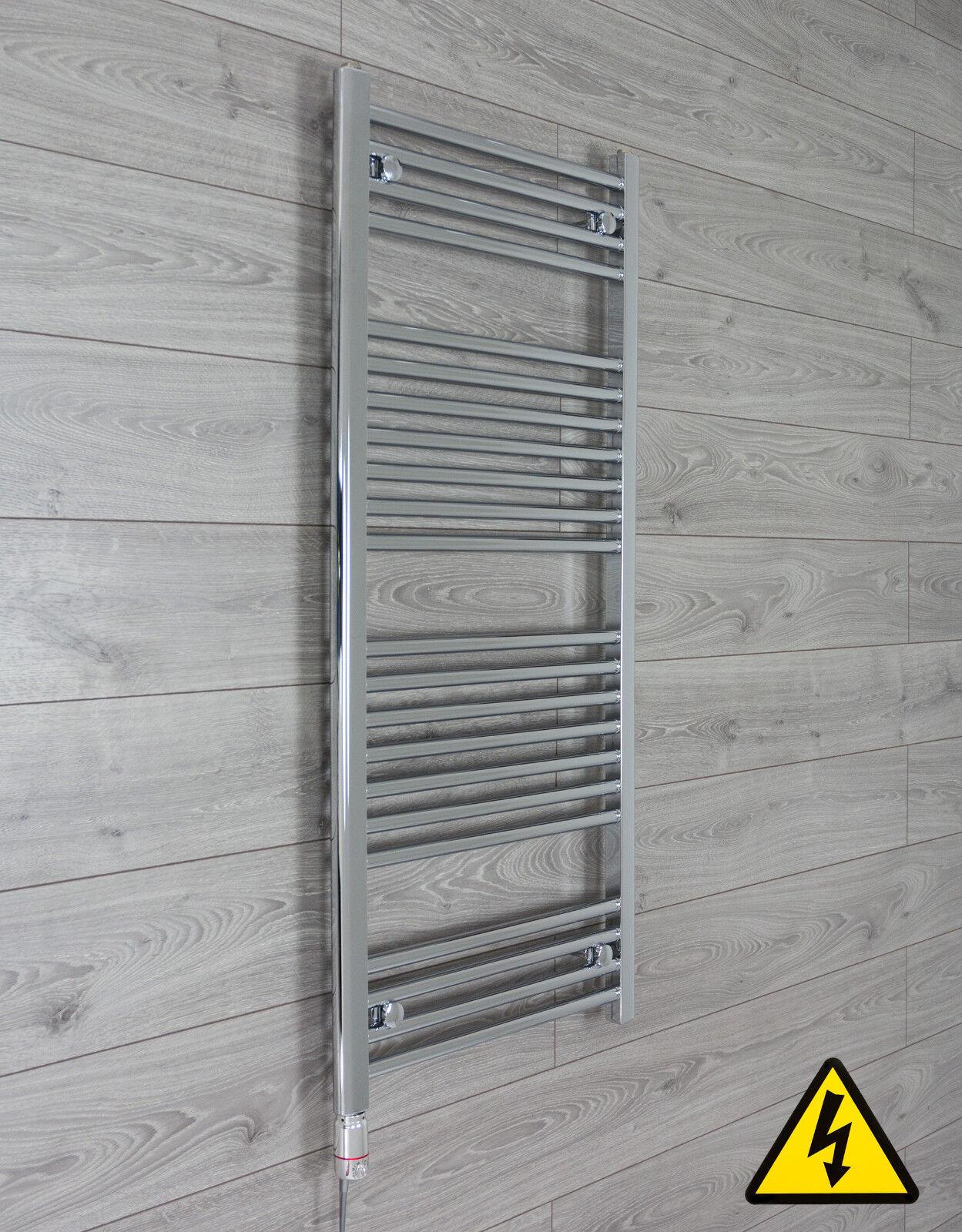 600 mm large 1200 mm Haut Plat Chrome pré-remplie électrique sèche-serviettes Radiateur