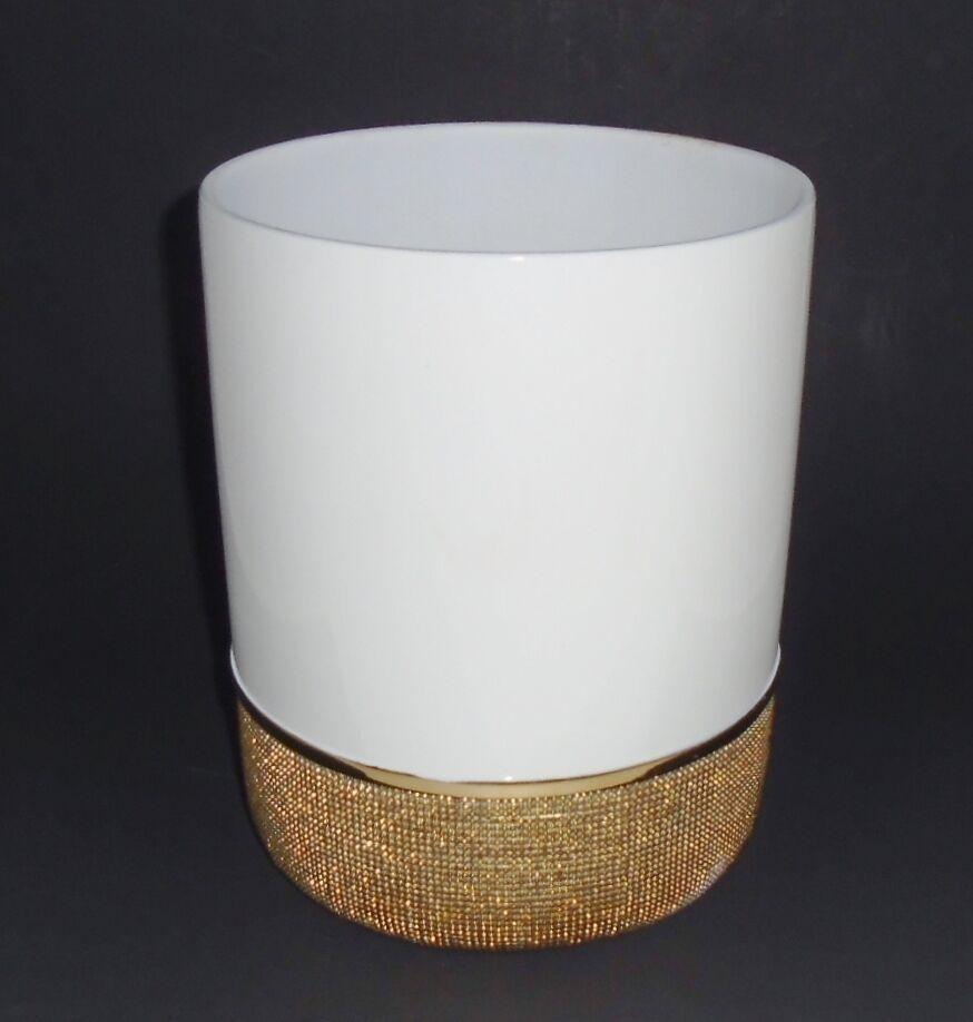 Neu Weiß  3D Gepunkteter Gold Trash Dose, Abfall Korb, Kanne, Behälter | Verrückte Preis