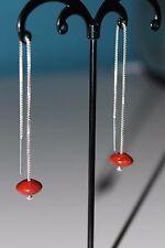 NUOVA Argento Sterling 925 SCOVOLO Perline Corallo Rosso CATENE Infila Ago Orecchini