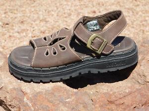 Skechers-Brown-Leather-Sun-Jammer-Teardrop-Sandals-Size-8-VGUC