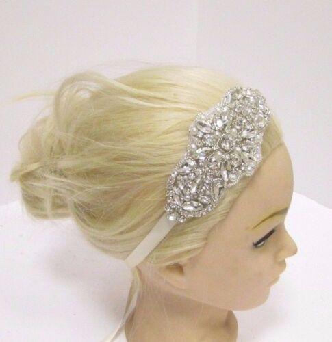 Silver Diamante Pearl Ivory Girls Baby Headband Bridesmaid Ribbon Beaded 2878