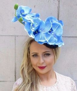 Image is loading Navy-Sky-Light-Blue-Orchid-Flower-Fascinator-Pillbox- 7a59b049299