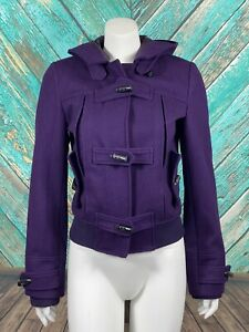 White-Rivet-Women-039-s-Coat-Small-Purple-Wool-Blend-Zip-Toggle-Front-Pockets-Lined