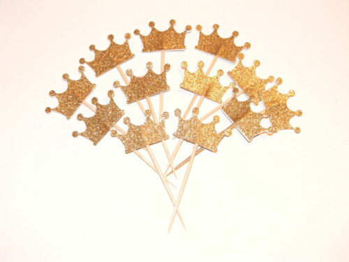 Lots 24pcs Gold Glitter Crown Cupcake Toppers Wedding Picks Party BABY SHOWER