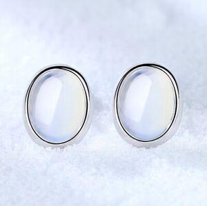 925-Sterling-Silver-Oval-Moon-Stone-Stud-Earrings-Womens-Girls-Jewellery-Gift-UK