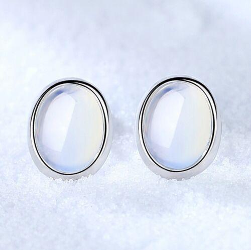 925 Sterling Silver Oval Moon Stone Stud Earrings Womens Girls Jewellery Gift UK