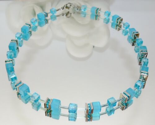 3er Schmuckset Perlen Cat Eye türkis aqua blau Kristall Glas Strass farbig 507h