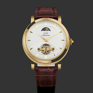 ESS-Automatic-Men-039-s-Watch-White-Dial-Brown-Leather-Strap-Classic-Self-winding