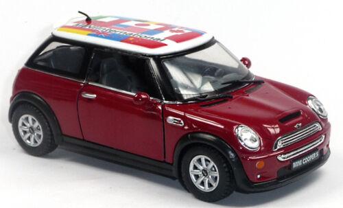Mini Cooper S Sammlermodell 1:28 rot mit internationalen Flaggen KINSMART NEU