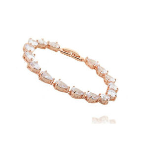 GORGEOUS-18K-ROSE-GOLD-PLATED-amp-GENUINE-CLEAR-CUBIC-ZIRCONIA-TENNIS-BRACELET