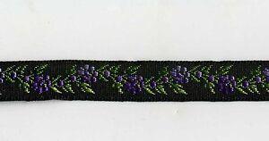 3-yards-Beer-Stern-Black-amp-Purple-Jacquard-woven-Rayon-Ribbon-trim-7-16-034-12-mm
