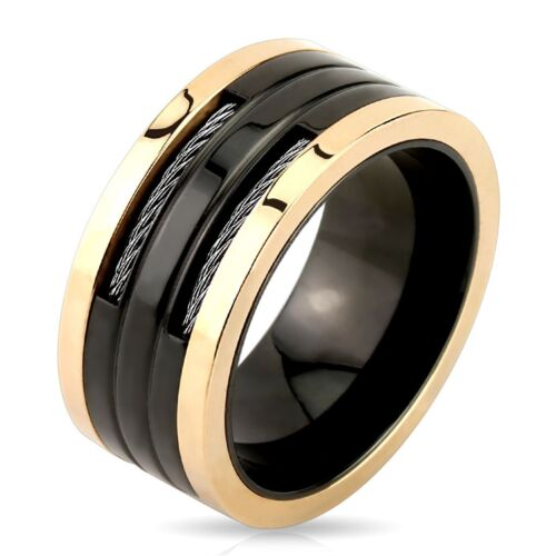 Stainless Steel Men/'s Black /& Rose Gold Wire Band Ring Size 9-13