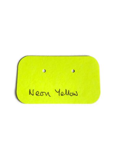 Neon yellow Stud display small card holes 50 Earring Display Card Coloured