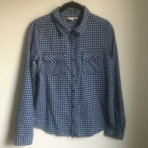 ROXY-Womens-Shirt-Small-Long-Sleeve-Snap-Button-Down-Western-Checks-Blue-White