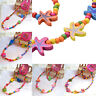 Girls Kids Toddlers Children Cute Necklace Bracelet Wood Jewelry Beach Gift yrE