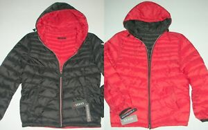 9b2107fe60572 Guess Black Red reversible 2 in 1 Jacket Lightweight Puffer Hooded ...