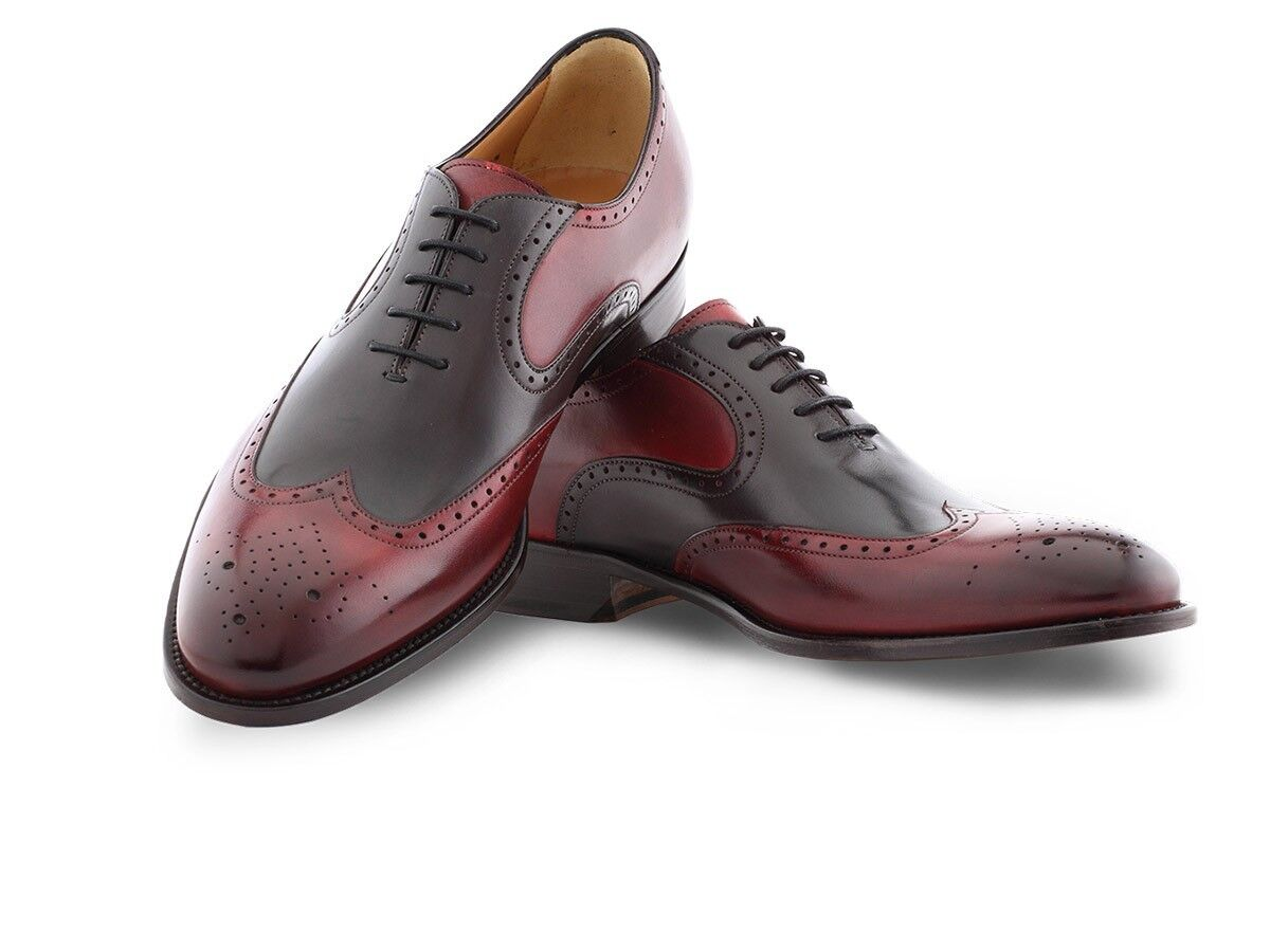 Handmade Men two tone shoes, Men formal shoes, Men wing tip two tone dress shoes