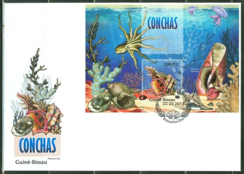 GUINEA BISSAU 2013 SEA SHELLS SOUVENIR SHEET FIRST DAY COVER