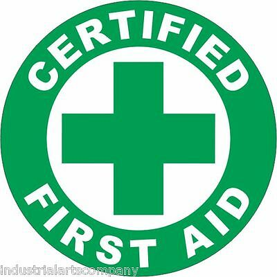 "CERTIFIED FIRST AID 2"" Hard Hat Sticker OSHA Safety Decal"