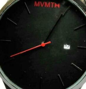 Red Black Face WR 3atm Date Brown Leather Band New Batt Run NWOT Men Watch MVMTH