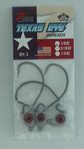 Zman TXJH18-01PK3 Texas Eye Redfish Jigheadz 1/8 oz Red 26833