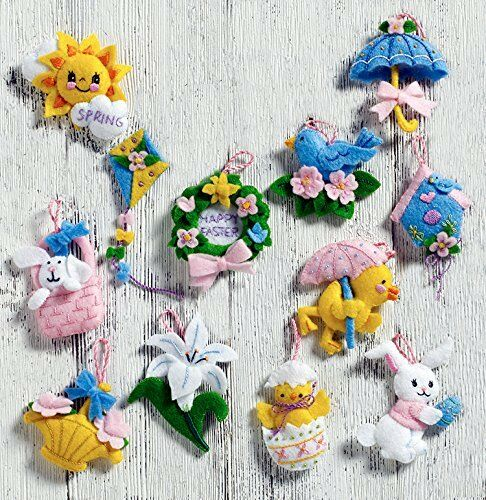 Bucilla Felt Applique Embroidery Kit Gnome Ornaments Set Of 6 86557
