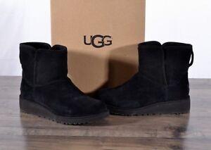 de641db1b00 Details about UGG Australia Kristin Suede Sheepskin Boots Size 6 MED  1012497 Black Boot Wedge