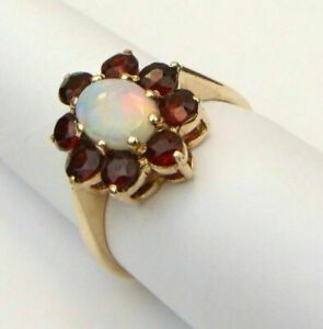 2-CT-Oval-Cut-Fire-Opal-14k-Yellow-Gold-Over-Garnet-Women-039-s-Floral-Wedding-Ring