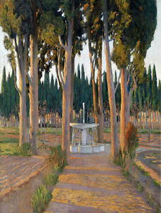 """Oil painting Golden Cypresses - the Orchard of the Duke of Gor landscape 24""""X36"""""""