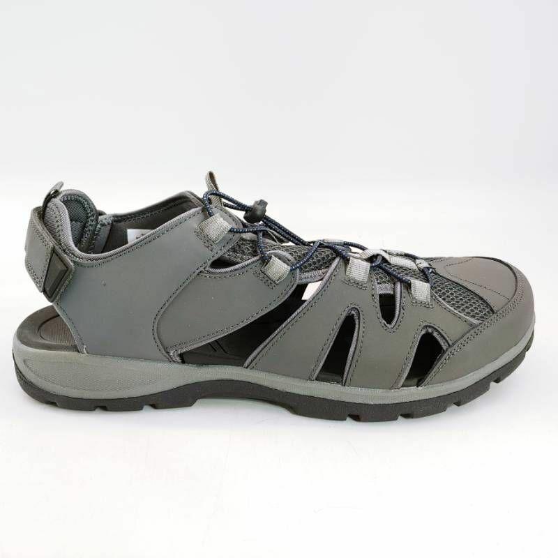 Lands End Mens Sport Sandals Gray Bungee Cord Adjustable Hook Loop Leather 13 EE