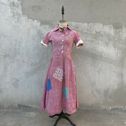 Vintage 1930s Pink Floral Print Cotton Dress Feeds