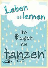 Postkarte: Leben ist lernen im Regen zu tanzen