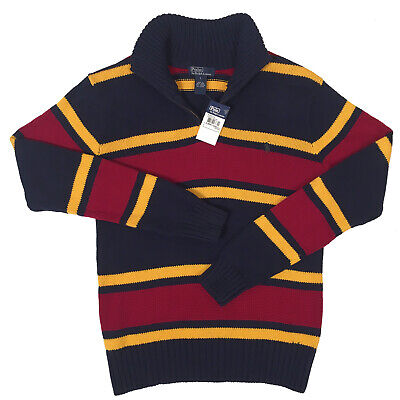 Wool /& Cashmere  Heavy Cable Knit Navy NEW $195 Polo Ralph Lauren Boys Sweater