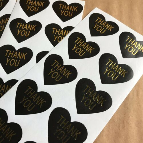 150 Heart Shaped Thank You Stickers On Glossy Black Paper With Gold Lettering