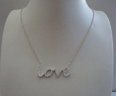 925 STERLING SILVER MODERN NECKLACE PENDANT W// .75 CT LAB DIAMONDS// 18/'/' LONG