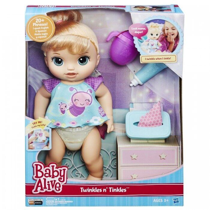 Baby Alive Twinkles N 'Tintineadorcito (rubia) Muñeca Interactiva Habla Inglés & Spa..