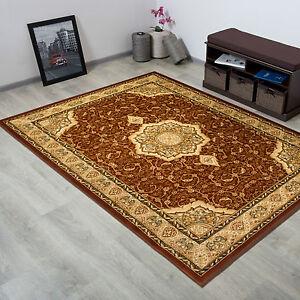 Tapis-Classique-motifs-etoile-Ornement-Tapis-d-039-Orient-marron-beige