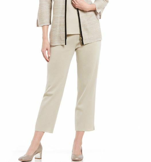 Misook Almond Natural Knit Acrylic Ankle Pant M