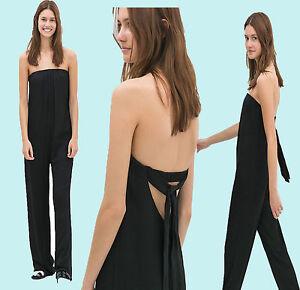 Zara-Schwarz-Schulterfrei-Lose-Flowy-Long-Jumpsuit-Size-XS-S-M-L-ausverkauft-in-Laeden