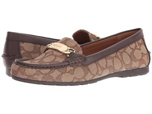 49e23102b11 Image is loading COACH-Womens-Flat-Shoes-Loafers-Beige-Signature-Jacquard-