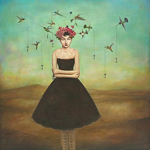 Duy Huynh Fair Trade Frame of Mind Fantasy Odd Weird Birds Print Poster 18x18