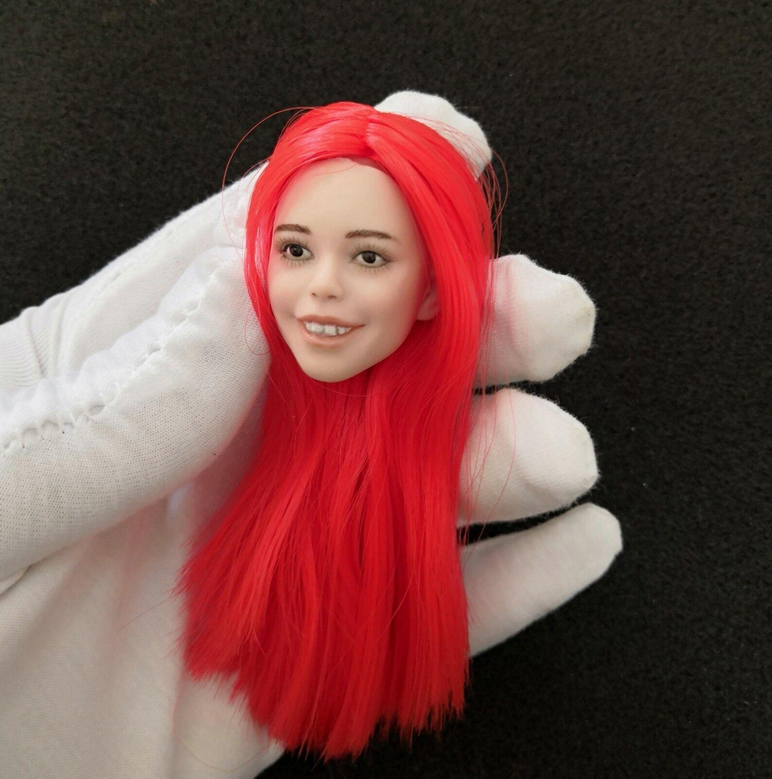 1   6 - skala mit roten haaren hübsche kopf carving - lächeln über.für 12  action - figur